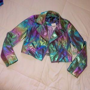 Forever 21 Jackets & Coats - Retro holographic moto jacket⚡️